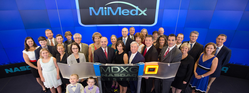 Pete Petit and Executive Management at NASDAQ opening day for MDMX stock trading