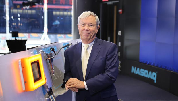 Pete Petit on floor of NASDAQ stock exchange