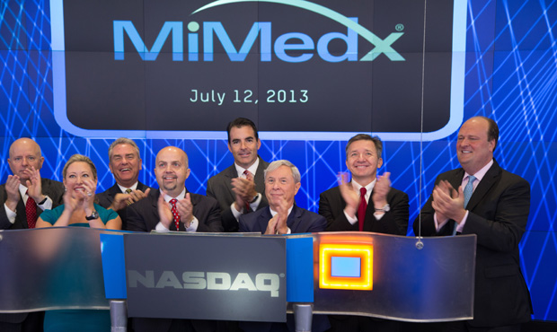 Pete Petit rings the NASDAQ stock exchange opening Bell